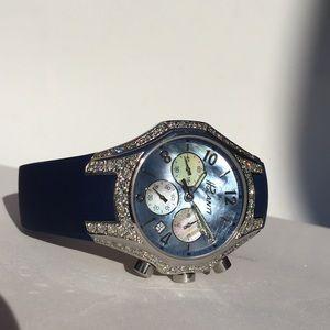 💯NEW Polanti Diamond & Abalone Chronograph Watch!